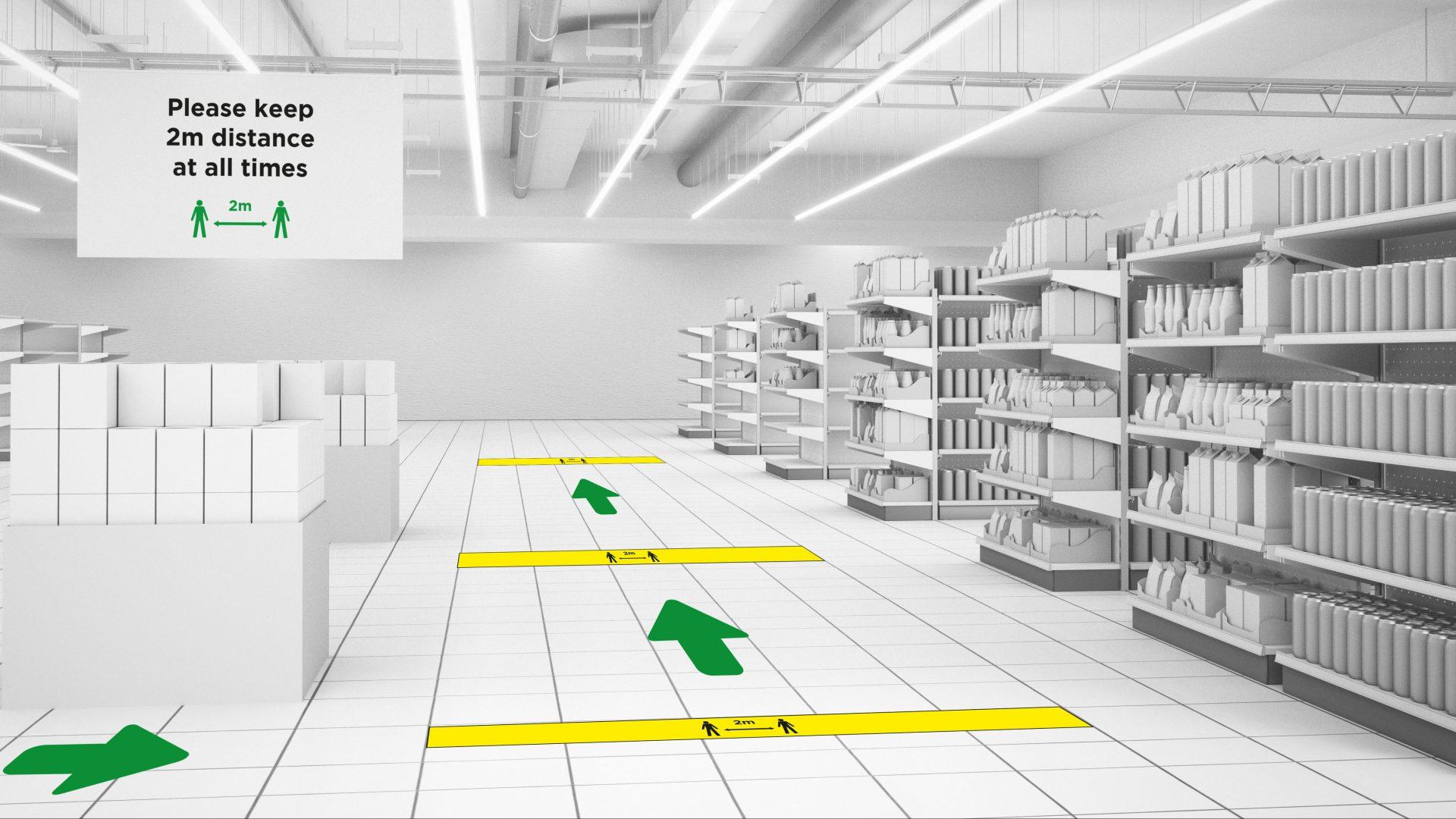 floor arrow stickers social distancing slider