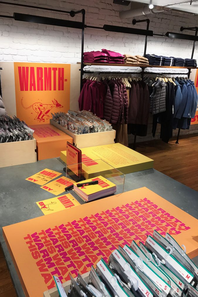 unqlo table display with printed cards mob